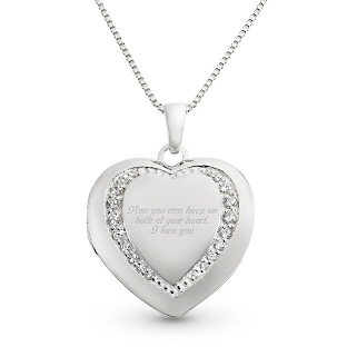 Image of Sterling Silver Pave Heart Locket with complimentary Filigree Keepsake Box
