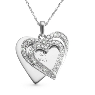 Image of .33 CT Diamond Double Heart Necklace with complimentary Filigree Keepsake Box