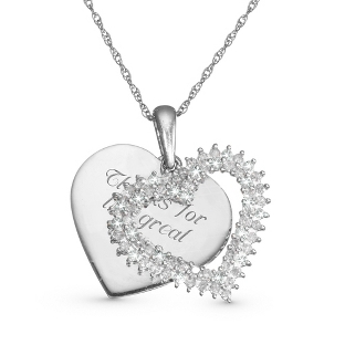 Image of .50 CT Diamond Double Heart Necklace with complimentary Filigree Keepsake Box