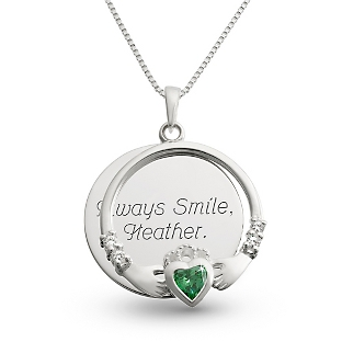 Image of Sterling Silver Green Claddagh Necklace with complimentary Filigree Keepsake Box