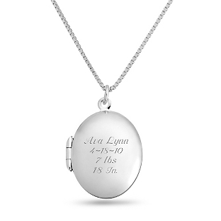 Image of Sterling Silver Oval Locket with complimentary Filigree Keepsake Box