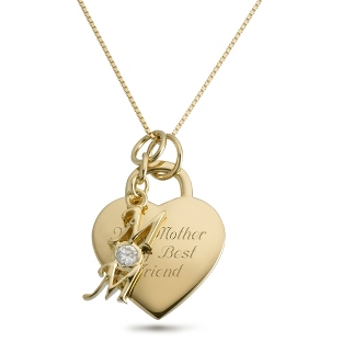 Image of 14K Gold/Sterling Mom Necklace with complimentary Filigree Keepsake Box