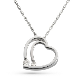 Image of .10 CT Girl's Diamond Heart Necklace with complimentary Filigree Heart Box