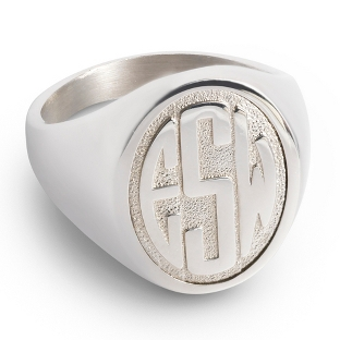 Image of Sterling Silver Women's Monogram Ring with complimentary Filigree Keepsake Box