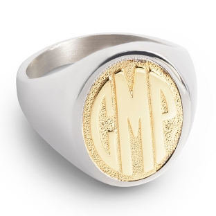 Image of 14K Gold Over Silver Women's Monogram Ring with complimentary Filigree Keepsake Box
