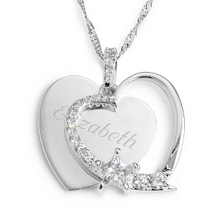 Image of Personalized Heart and Star Necklace with complimentary Filigree Keepsake Box
