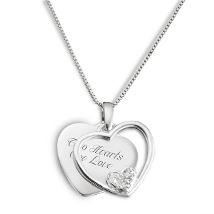 Image of Sterling Silver Crystal Heart in Heart Necklace with complimentary Filigree Keepsake Box