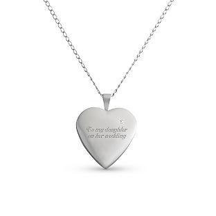 Image of Sterling Silver Diamond Heart Locket with complimentary Filigree Keepsake Box