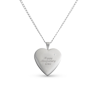 Image of Sterling Silver Diamond Heart Locket with complimentary Filigree Keepsake Box
