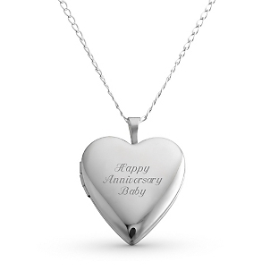 Image of 20MM Sterling Silver Heart Locket with complimentary Filigree Keepsake Box