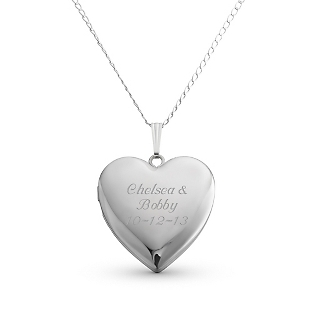 Image of 24MM Sterling Silver Heart Locket with complimentary Filigree Keepsake Box