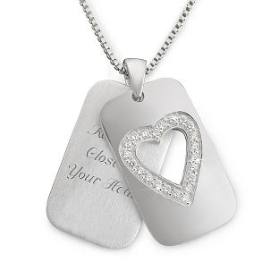 Image of Sterling Silver Open Heart Dog Tag with complimentary Filigree Keepsake Box