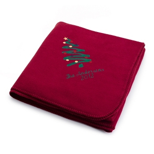 Image of Holiday Tree Burgundy Fleece Blanket