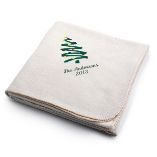 Image of Holiday Tree Winter White Fleece Blanket
