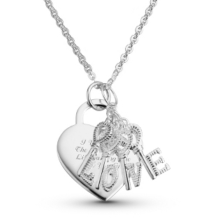"Image of Sterling ""Love"" Letter Keys Necklace with complimentary Filigree Keepsake Box"