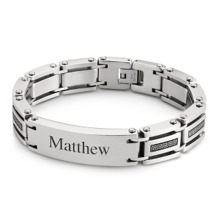 Image of Stainless Steel Greek Key ID Bracelet with complimentary Tri Tone Valet Box