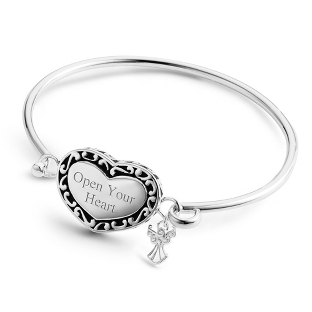 Image of Expressions Heart and Angel Bracelet with complimentary Filigree Oval Box
