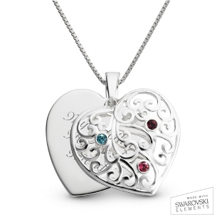 Image of Sterling Silver 3 Birthstone Family Heart Necklace with complimentary Filigree Keepsake Box