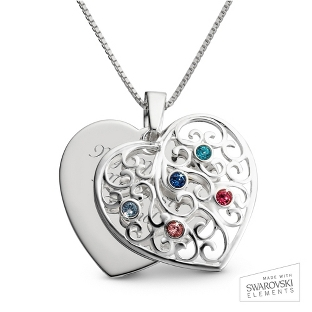 Image of Sterling Silver 5 Birthstone Family Heart Necklace with complimentary Filigree Keepsake Box
