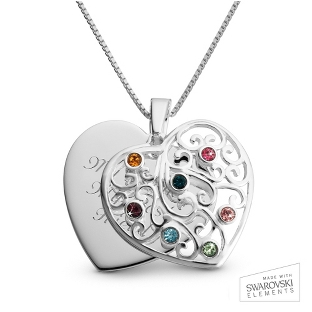 Image of Sterling Silver 7 Birthstone Family Heart Necklace with complimentary Filigree Keepsake Box