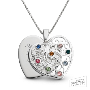 Image of Sterling Silver 8 Birthstone Family Heart Necklace with complimentary Filigree Keepsake Box