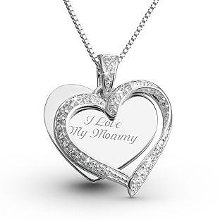 Image of Sterling CZ Twisted Heart Necklace with complimentary Filigree Keepsake Box
