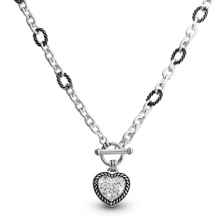 Image of Expressions Pave Heart Pendant with complimentary Filigree Oval Box