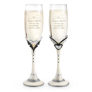 Image of Mr. & Mrs. Toasting Flutes