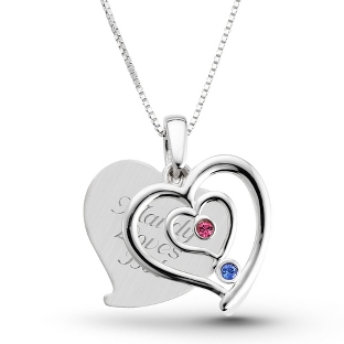 Image of Sterling Couples Birthstone Heart Necklace with complimentary Filigree Keepsake Box