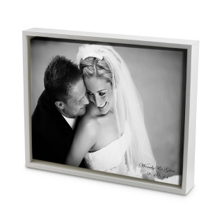Image of 18x24 Black & White Photo to Canvas Art with Float Frame