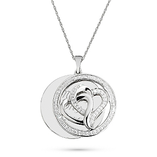 Image of .25 CT Diamond Double Hearts Necklace with complimentary Filigree Keepsake Box