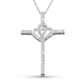 Image of .33 CT Diamond Double Hearts Cross Necklace with complimentary Filigree Keepsake Box