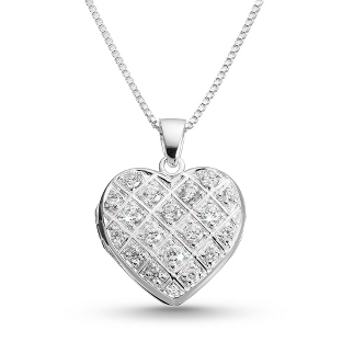 Image of Pave Heart Locket with complimentary Filigree Heart Box