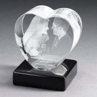 Image of Heart Photo Crystal with Black Base