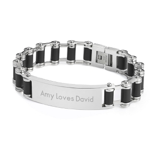 Image of Bicycle Chain ID Bracelet with complimentary Tri Tone Valet Box