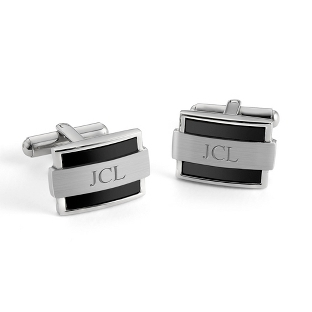 Image of Wrapped Black Cuff Links with complimentary Tri Tone Valet Box
