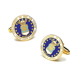 Image of Air Force Cuff Links with complimentary Weave Texture Valet Box
