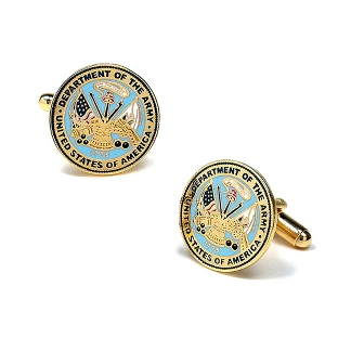 Image of Army Cuff Links with complimentary Weave Texture Valet Box