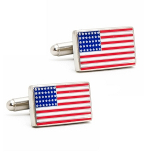 Image of American Flag Cuff Links with complimentary Weave Texture Valet Box