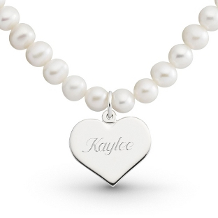 Image of Girl's Sterling Pearl Necklace with Heart with complimentary Filigree Heart Box