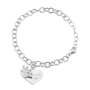 Image of Girl's Sterling Tiara Bracelet with complimentary Filigree Heart Box
