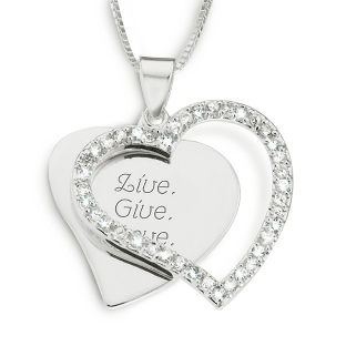 Image of Sterling Silver CZ Heart Necklace with complimentary Filigree Keepsake Box