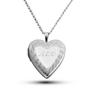 Image of Sterling Silver Heart Locket with Border with complimentary Filigree Keepsake Box