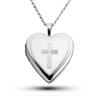 Image of Sterling Silver Cross Locket with complimentary Filigree Keepsake Box