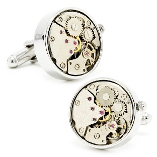 Image of Silver Watch Movement Cuff Links with complimentary Weave Texture Valet Box