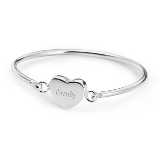 Image of Girls Stainless Heart Bangle with complimentary Filigree Heart Box