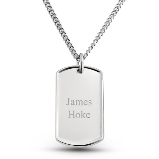 Image of Dolan Bullock Sterling Silver Dog Tag- Vertical with complimentary Tri Tone Valet Box