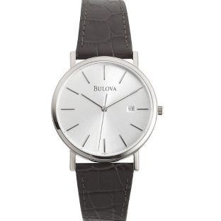 Image of Men's Bulova Black Leather Strap Watch with complimentary Black Lacquer Wrist Watch Box