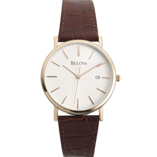 Image of Men's Bulova Brown Leather Strap Watch 98H51 with complimentary Black Lacquer Wrist Watch Box