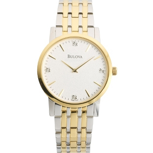 Image of Men's Bulova Two Tone Watch with Diamond Accents 98D114